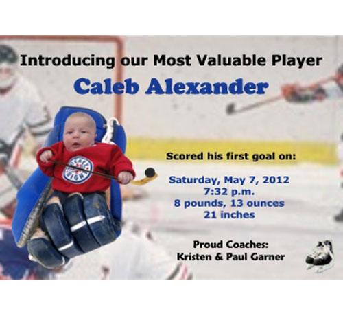 Baby Sports Photo Birth Announcement, Hockey