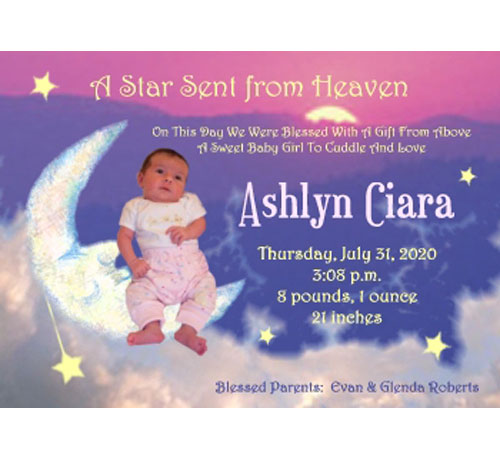 Baby Moon and Stars Birth Announcement, Girl