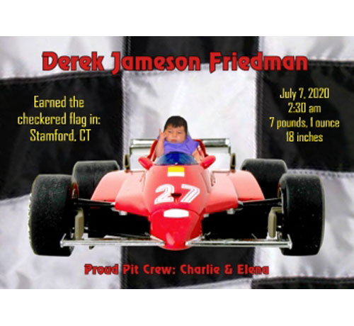 Baby Sports Photo Birth Announcement, Racing
