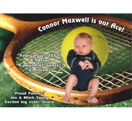 Baby Sports Photo Birth Announcement, Tennis
