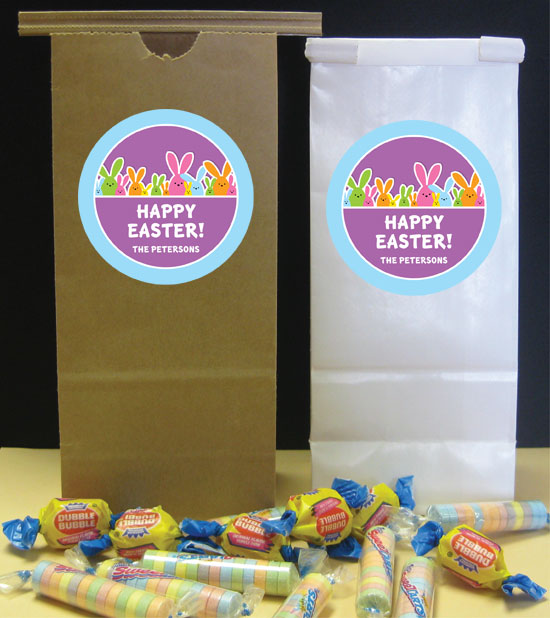 Colorful Easter Bunnies Theme Favor Bags