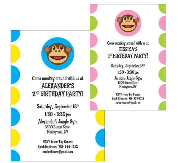 Funky Monkey Invitation