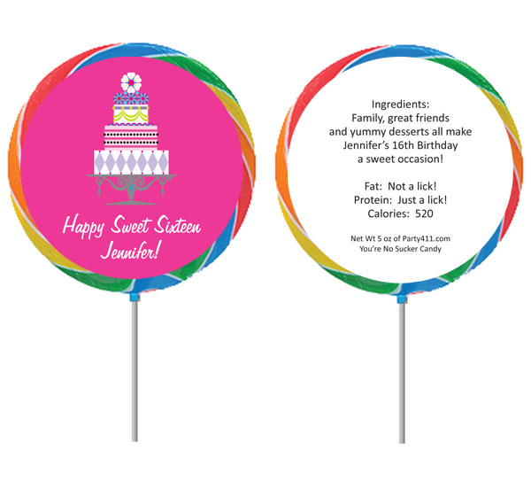 Birthday Cake Sweet 16 Theme Lollipop