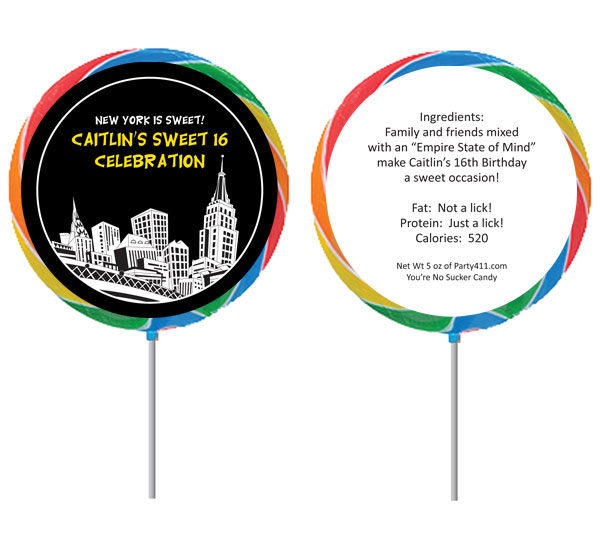 New York Party Theme Custom Lollipop