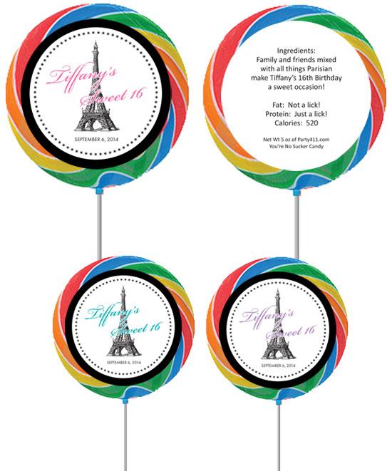 Paris Party Theme Custom Lollipop