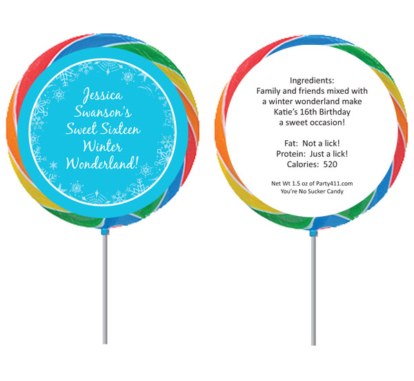 Snow Party Theme Lollipop