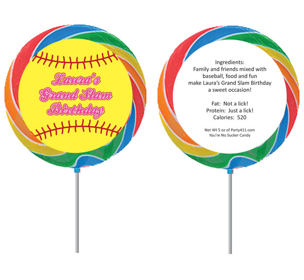 Softball Theme Lollipop