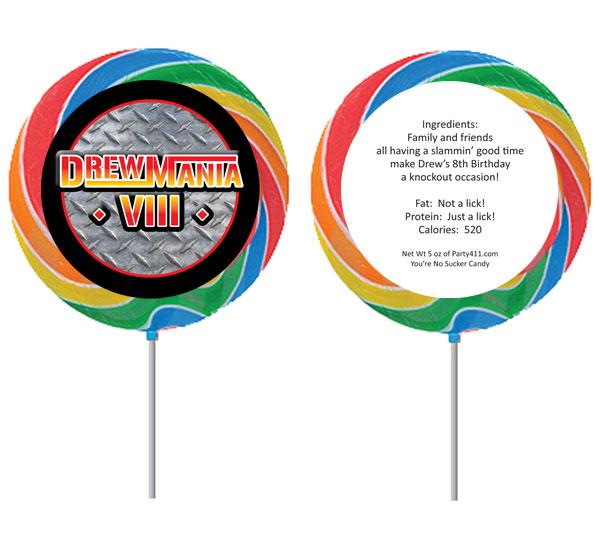 Wrestling Party Theme Custom Lollipop