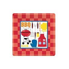 "BBQ 7"" Square Plates"