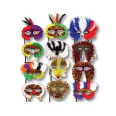 Feather Masks On Sticks