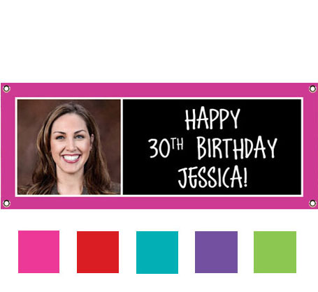 Birthday Age Color Block Photo Theme Banner