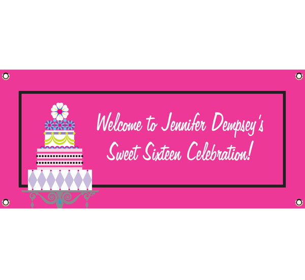 Birthday Cake Sweet 16 Theme Banner