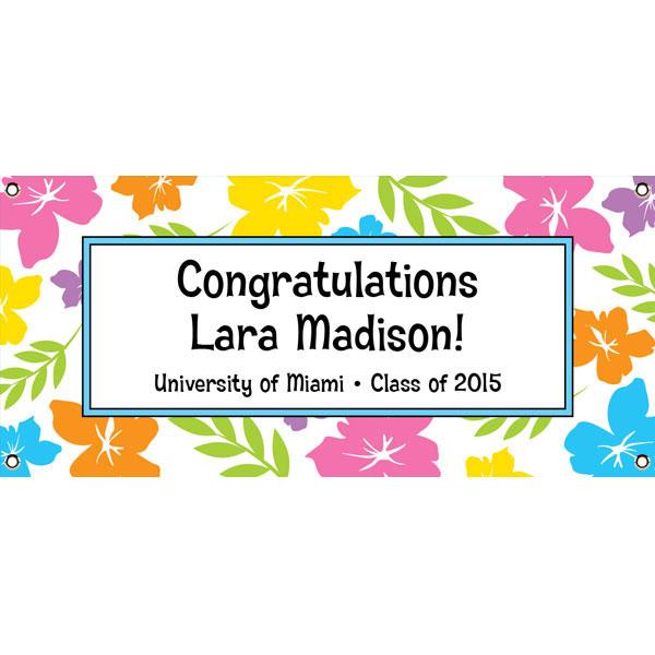 Graduation Luau Hibiscus Theme Banner