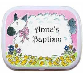 Baby Girl Baptism Mint Tin, Sheep