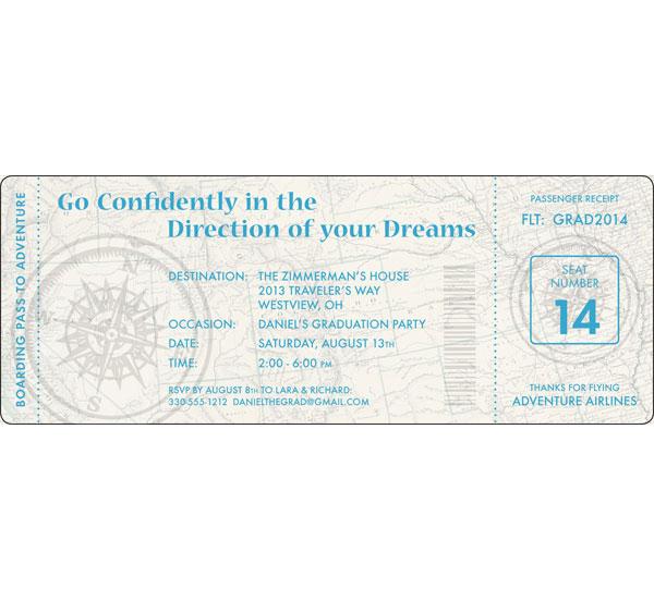 Graduation Travel Boarding Pass Invitation