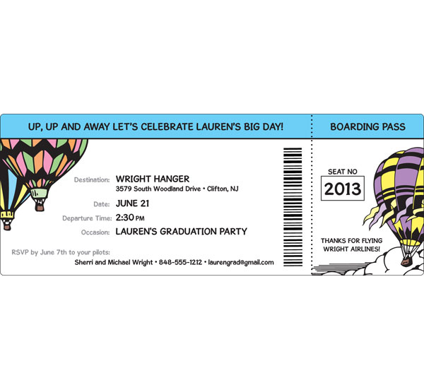 Graduation Up Up and Away Theme Boarding Pass Invitation