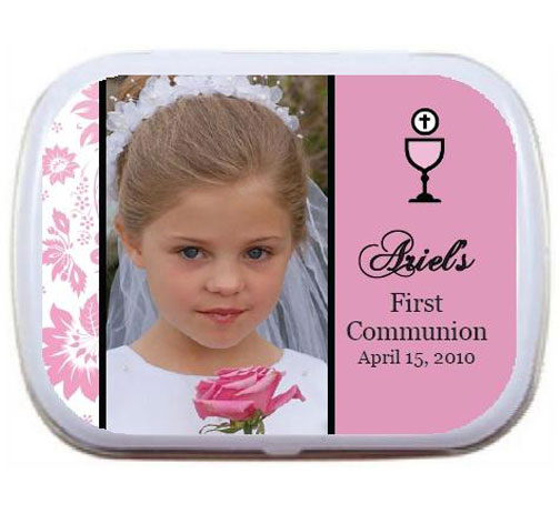 A First Communion Mint Tin in Pink