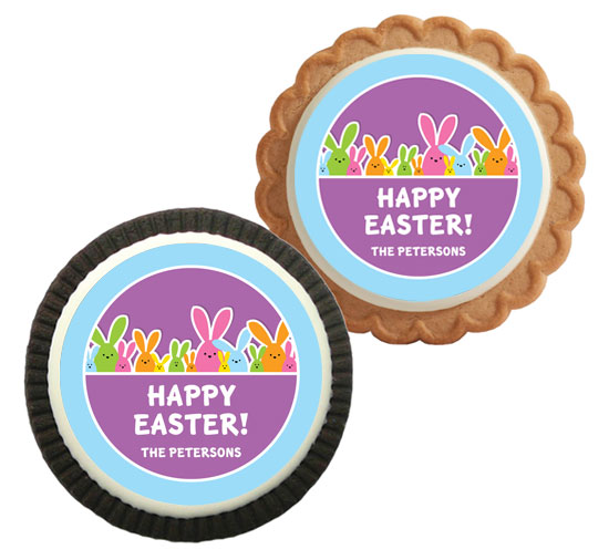 Colorful Easter Bunnies Theme Cookie