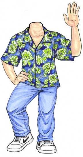 Luau Cutout, Teen Boy