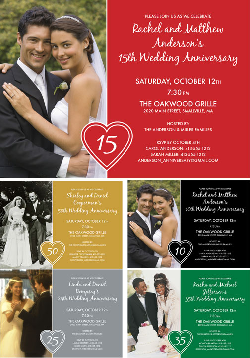 Anniversary Heart Photo Invitation