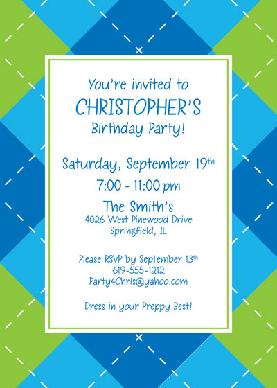 Blue Argyle Invitation