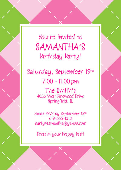 Pink Argyle Invitation