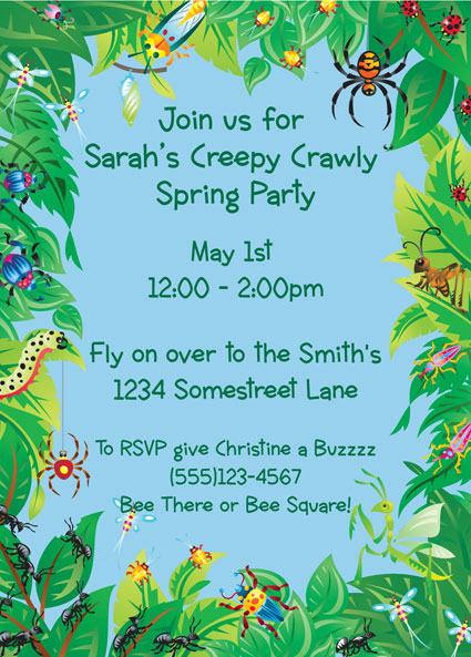 Wriggly Bugs Invitation