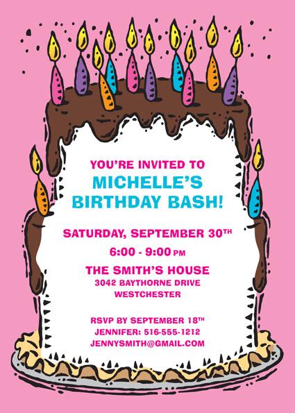 Birthday Cake For Her Invitation