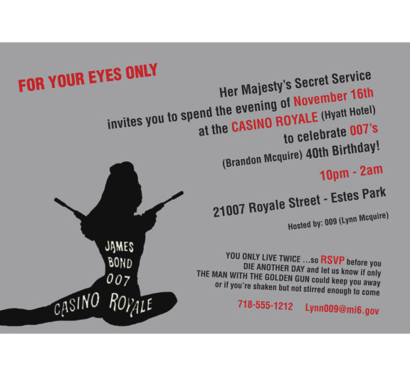Casino Royale Bond 007 Theme Invitation