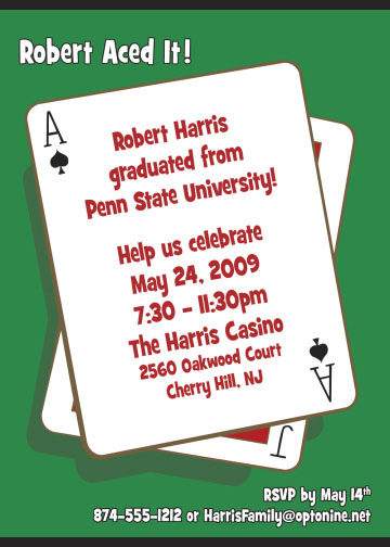 Casino Playing Card Theme Invitation