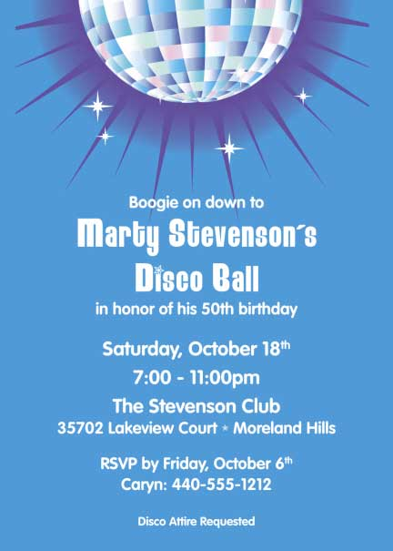 Disco Ball Theme Invitation