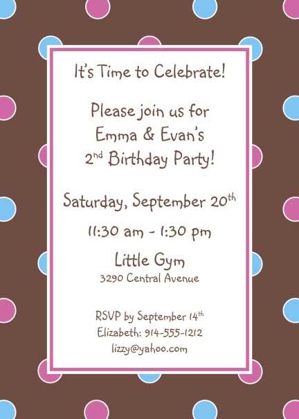 Polka Dot Invitation, Brown, Blue and Pink