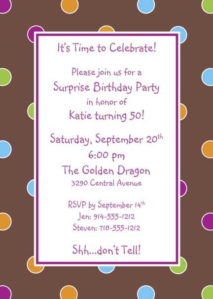 Polka Dot Invitation, Multiple Colors