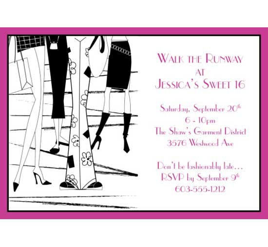Fashion Party Theme Invitation