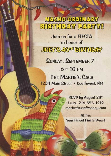 Fiesta Guitar Theme Invitation