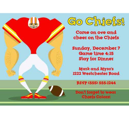 Kansas City Chiefs Party Invitation