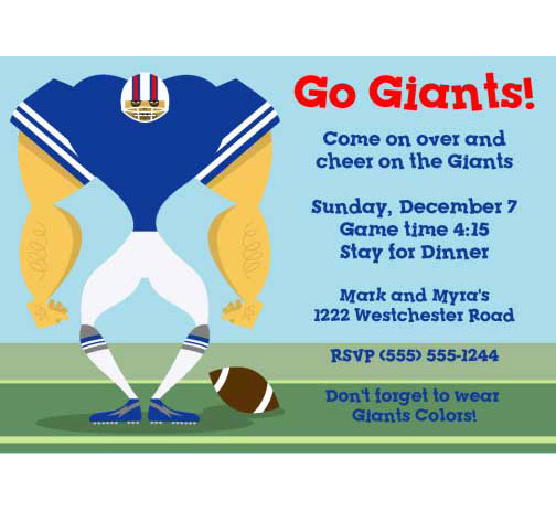 New York Giants Party Invitation