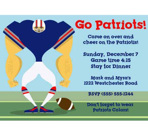 New England Patriots Party Invitation
