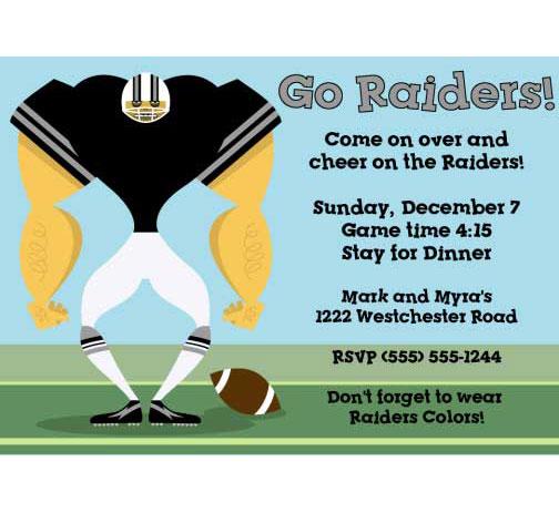 Oakland Raiders Party Invitation