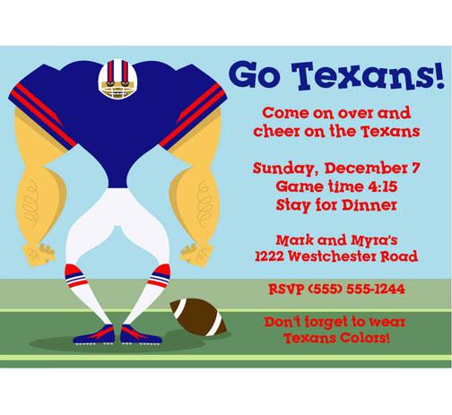 Houston Texans Party Invitation