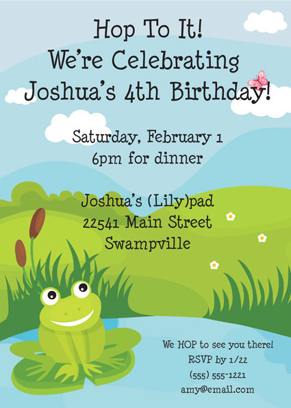Frog Party Theme Invitation
