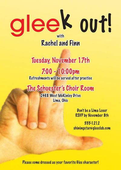 GLEE Party Theme Invitation