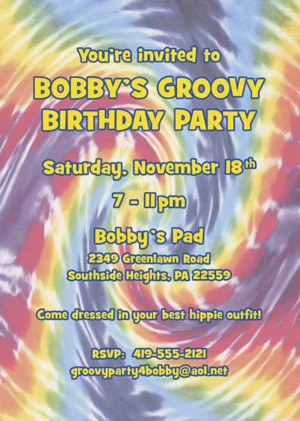 Hippie Tie Dye Invitation