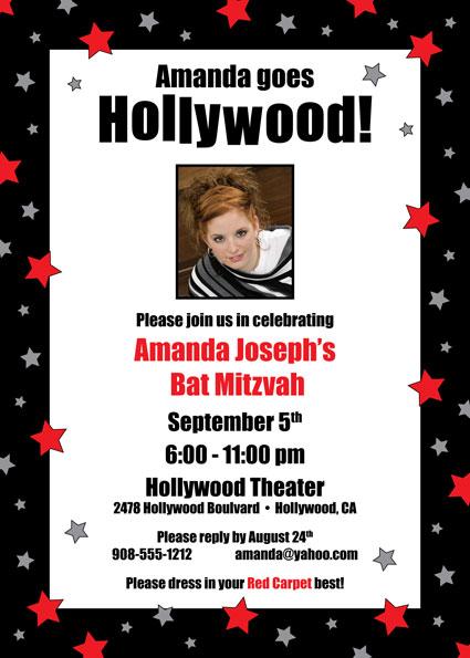 Hollywood Star Party Photo Invitation