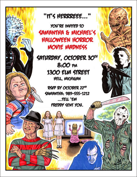 80s Halloween Horror Movie Invitation