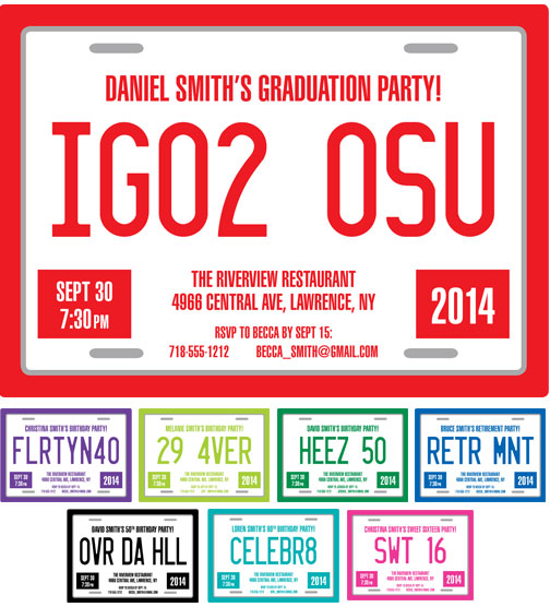 Graduation License Plate Invitation