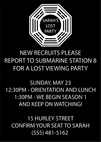 LOST Party Invitation