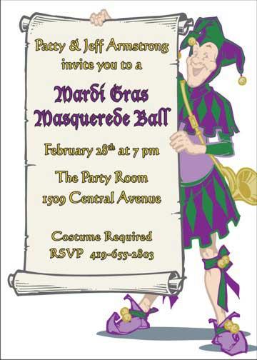 Mardi Gras Jester Invitation
