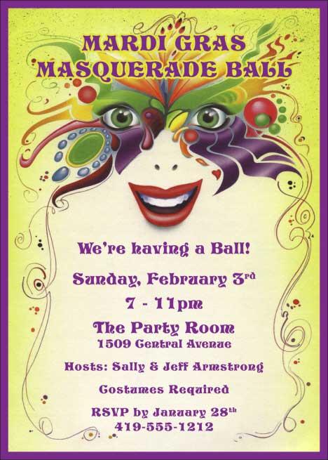 Mardi Gras Masquerade Invitation