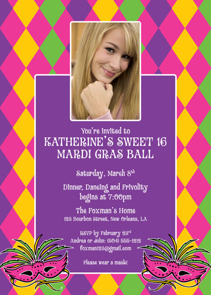 Mardi Gras Party Invitation